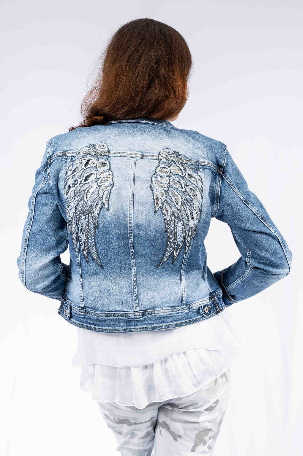 The Italian Closet - Denim Heaven Jacket with Angel Wing Back