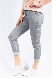 The Italian Closet - Khaki Perno Stretch Cotton Jeans with studded side