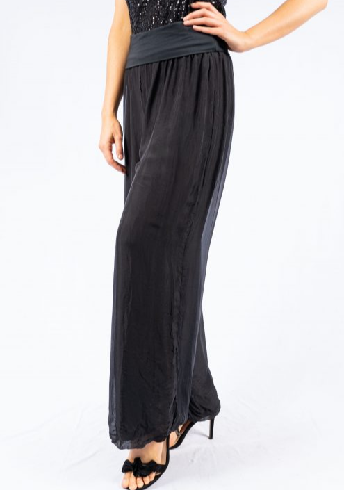 The Italian Closet - Black Silk Lined Straight Pant Faustina  Media 1 of 4