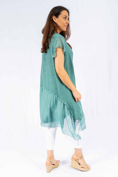 The Italian Closet - Ocean Blue Sec Linen Dress with Silk Panel