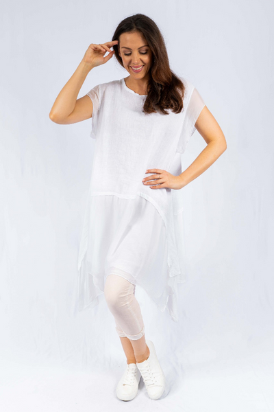 The Italian Closet - White Sec Linen Dress with Silk Panel