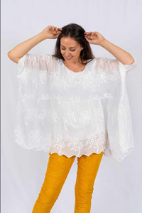 The Italian Closet - White Top Silk Embroidery Batwing Embrata 3444