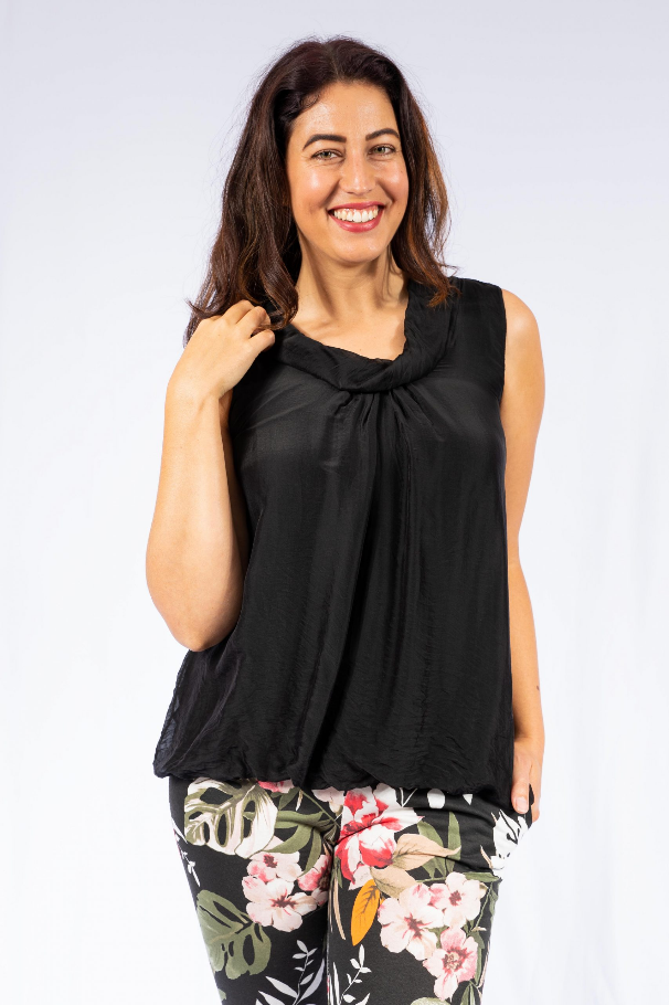 The Italian Closet - Black Silk Cowl Neck Top Bellona 001310