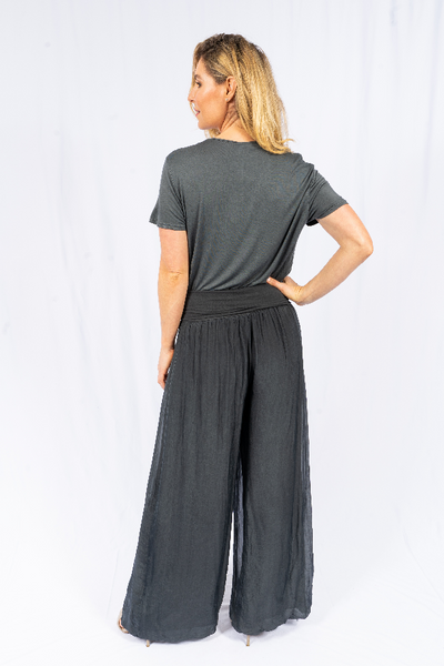 The Italian Closet - Charcoal Silk Lined Straight Pant Faustina