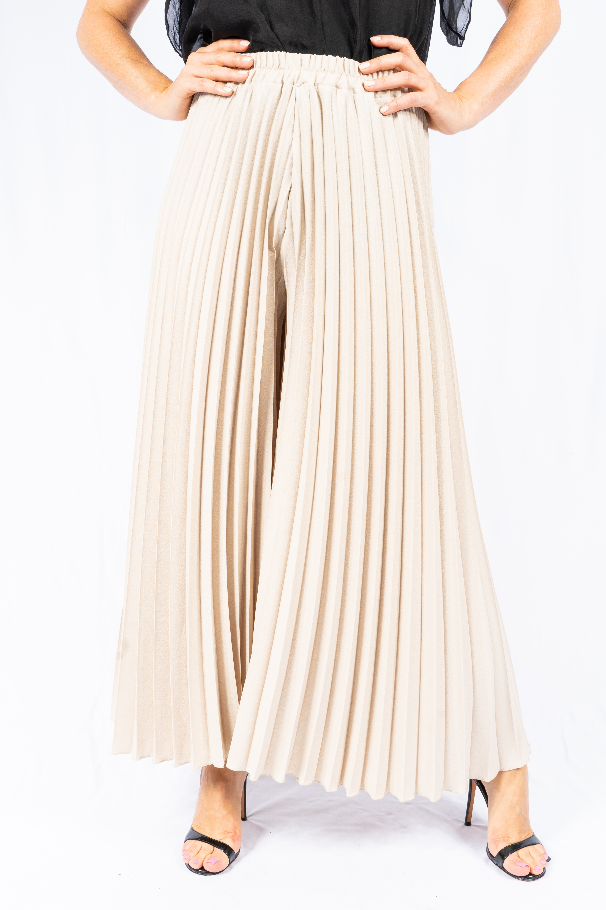 The Italian Closet - Cream Pleated Culottes Lizzanello 19163
