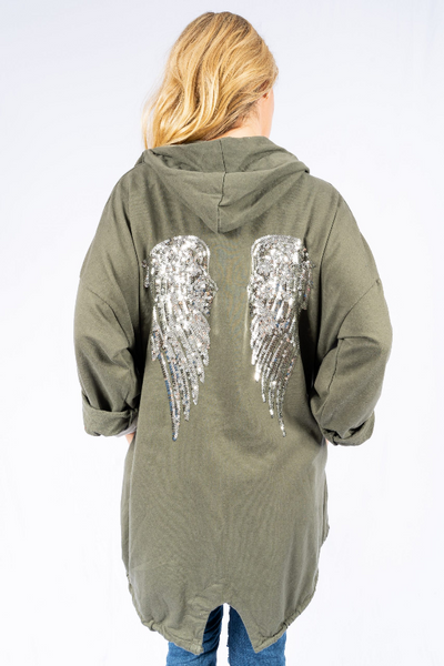 The Italian Closet - Khaki Angel Wing Hoodie Ali 1739