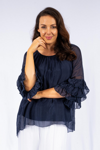 The Italian Closet - Navy Rovigo Silk Ruffle Sleeve Silk Tunic