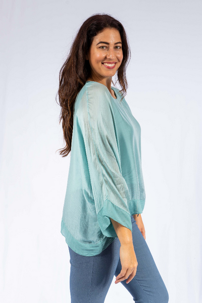The Italian Closet - Ocean Blue Venzone Silk Batwing with Georgette