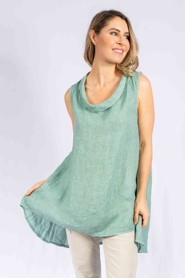 The Italian Closet - Orvena Ocean Blue or Navy Linen Tunic Top