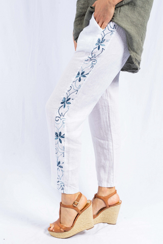 The Italian Closet - White Mariona Tapered Linen Trouser Embroidered Panel