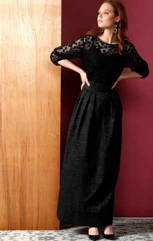 Sacha Drake - The Met Long Maxi Skirt - Black Rose Jacquard ONE LEFT SIZE 14