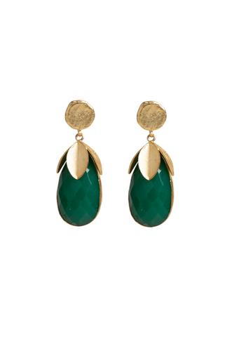 Meshca - Zenia Earrings - Green Onyx