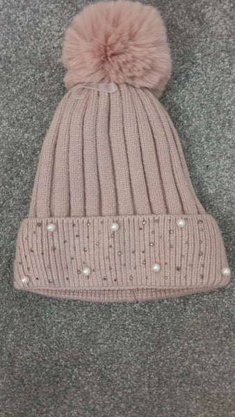 Bobble Hat With Faux Fur PomPom