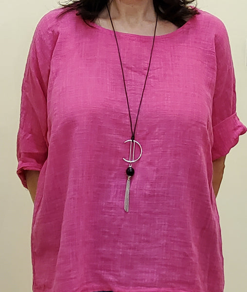 Cotton Short Sleeve Top With Necklace