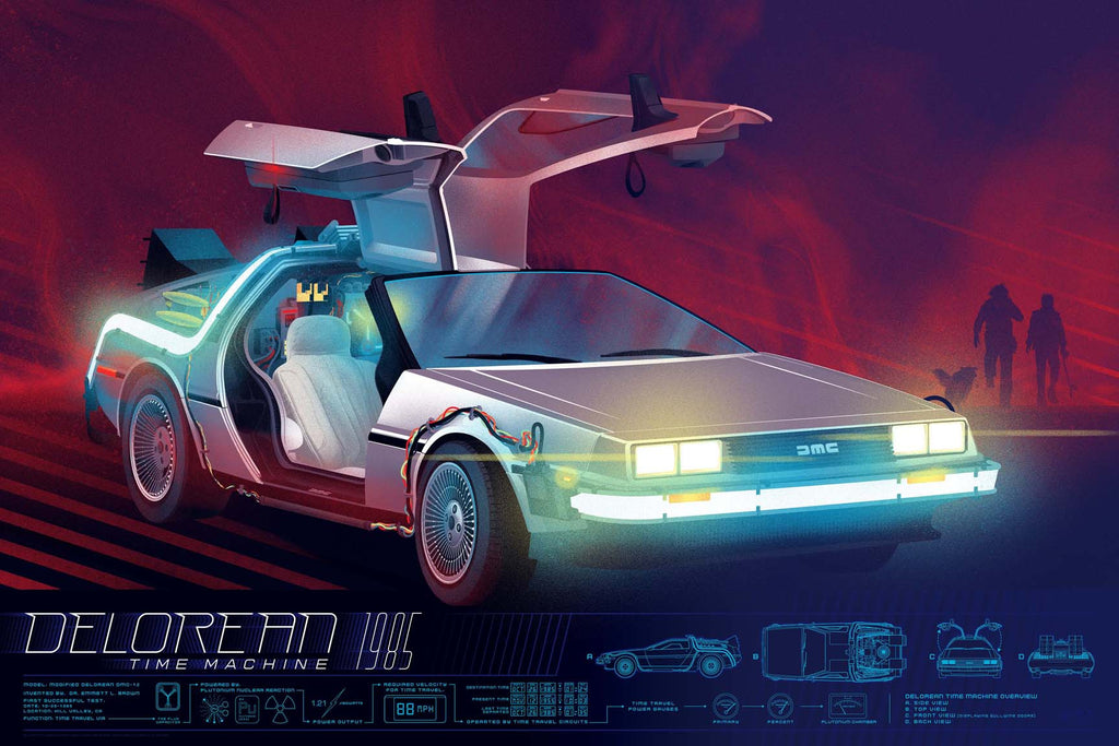 Back To The Future Delorean Infographic Poster by Kevin Tong (Regular)