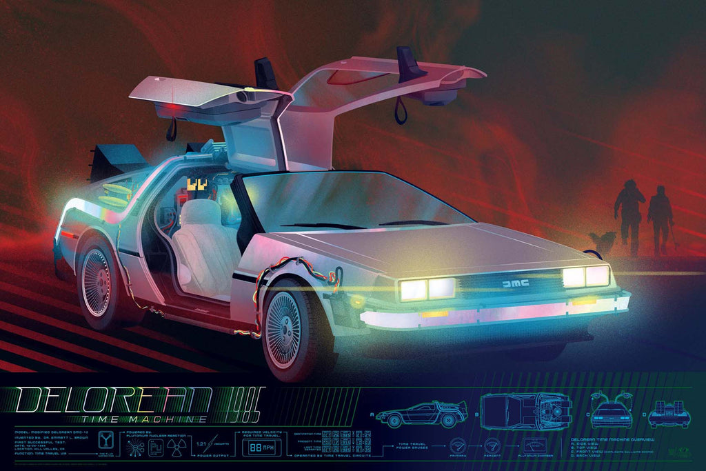 Back To The Future Delorean Infographic Poster by Kevin Tong (Variant)