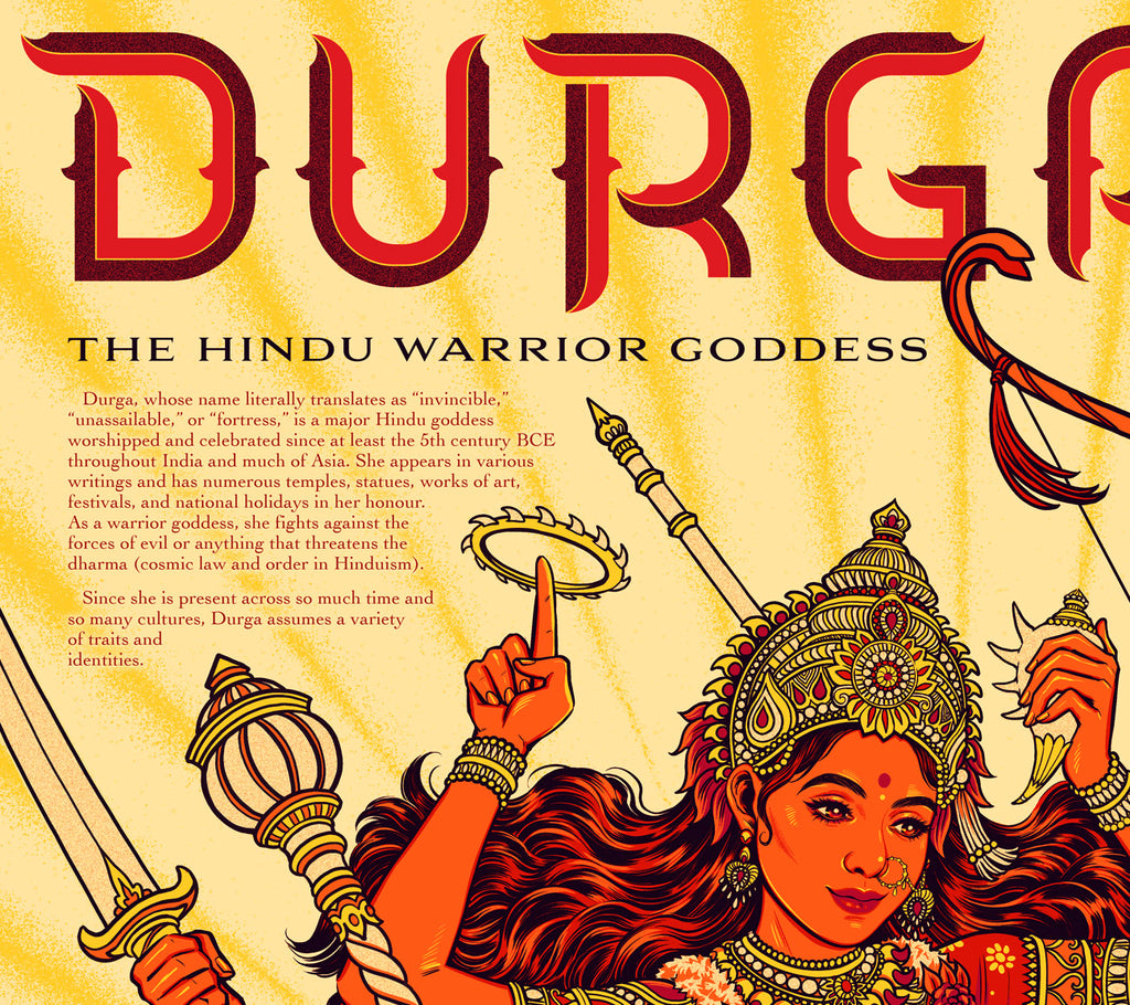 """Durga: the Hindu Warrior Goddess"" Infographic Poster by Jen Bartel (Day Version)"