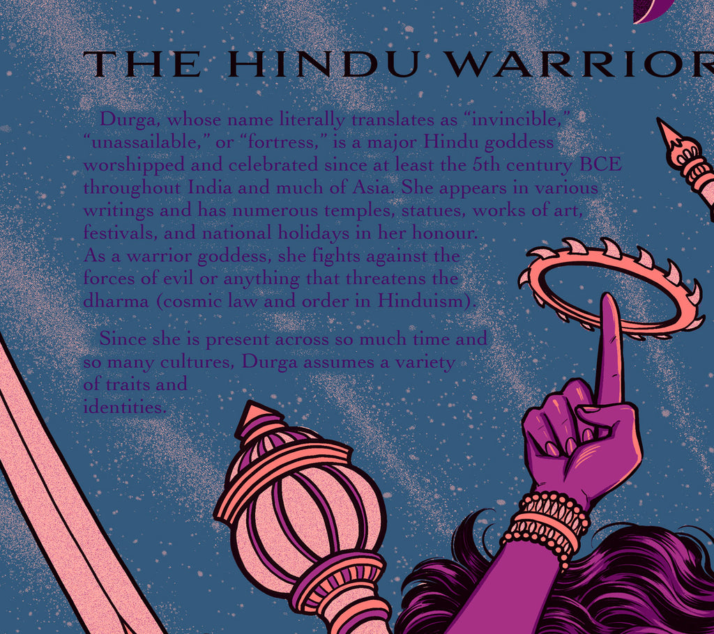 """Durga: the Hindu Warrior Goddess"" Infographic Poster by Jen Bartel (Night Version)"