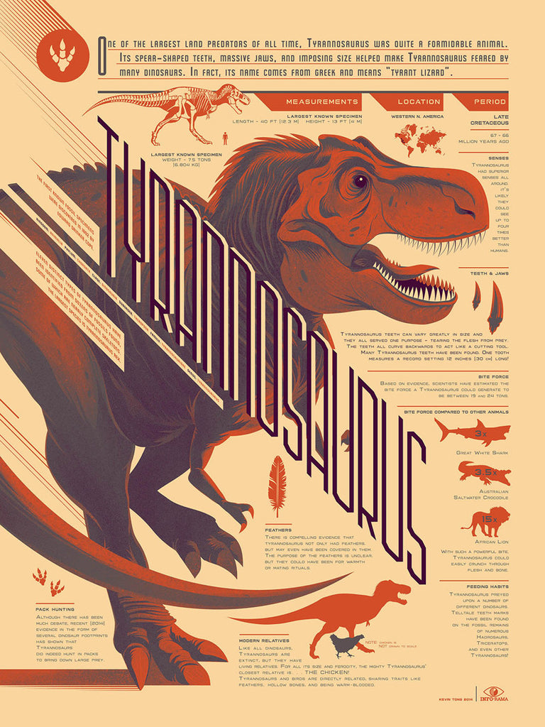 Tyrannosaurus Rex Infographic Poster by Kevin Tong