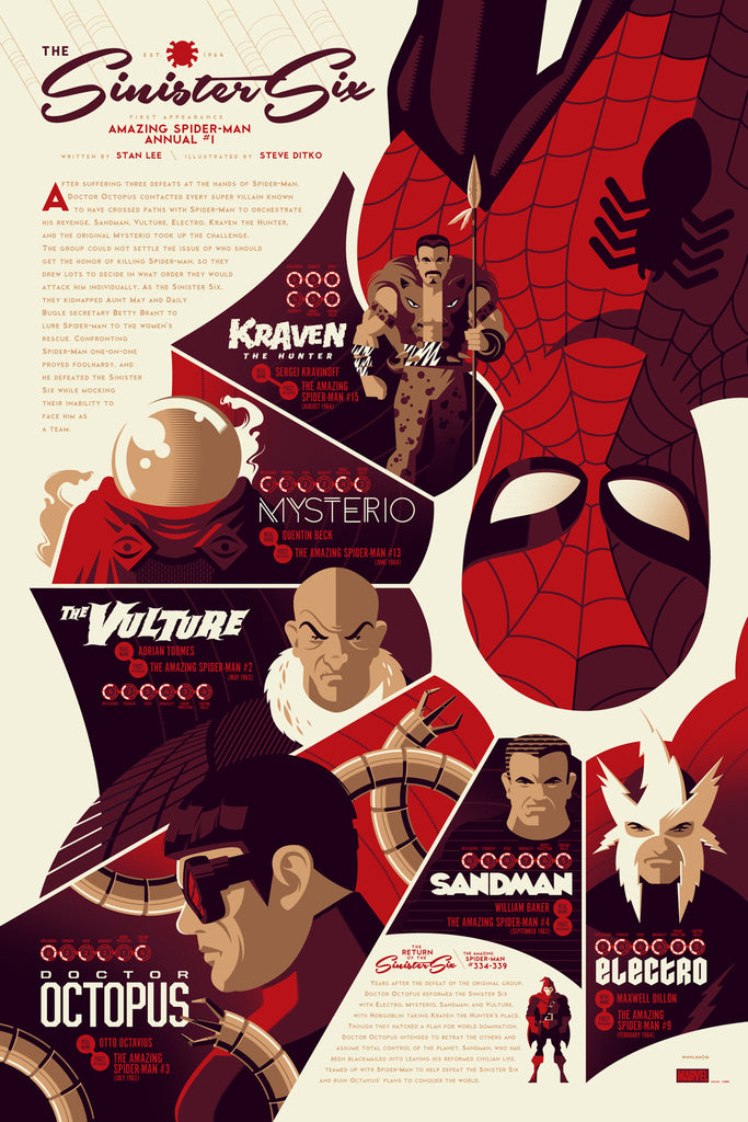 Sinister Six Infographic Poster by Tom Whalen (Regular)