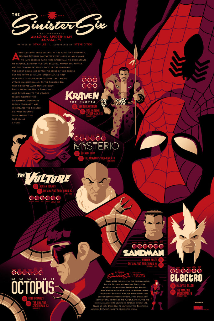 Sinister Six Infographic Poster by Tom Whalen (Variant)
