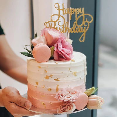 Sunset Peaches Floral Cake