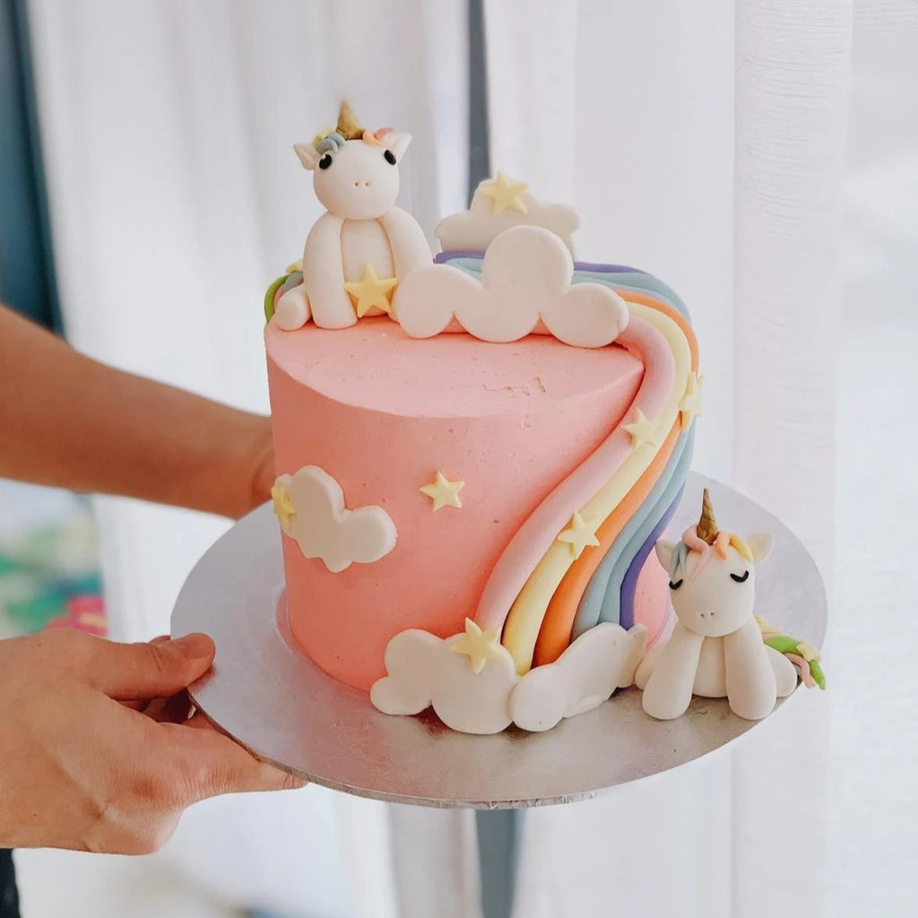 Unicorns Over The Rainbow Cake