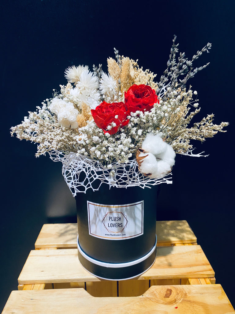Preserved Flowers Arrangement In Black Box