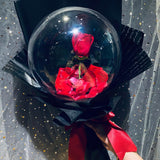 Single Rose Bubble Balloon Bouquet Hot Air Balloon (HAB017)