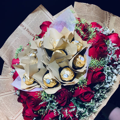 Chocolate Rocher and Roses Bouquets (FD080)