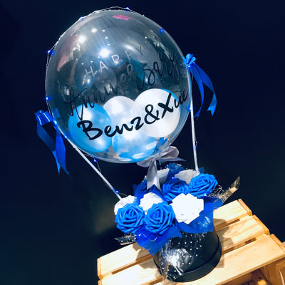 Hot Air Balloon With Plush Toy Flowers