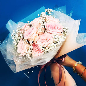 Lychee Roses with Baby Breath Bouquet (FD0