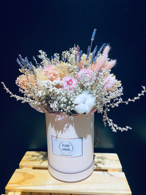 Preserved Flowers Arrangement In Pink Box