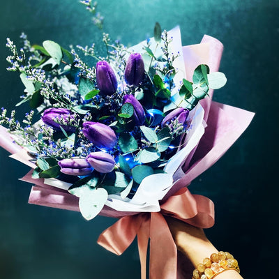 Purple Tulips FRESH Flowers Bouquet (FD101)