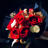 Red Roses with 24K Gold Eucalyptus Leaves (FD045)