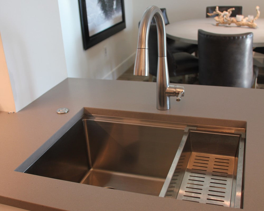 stainless steel ledge undermount sink with steel colander