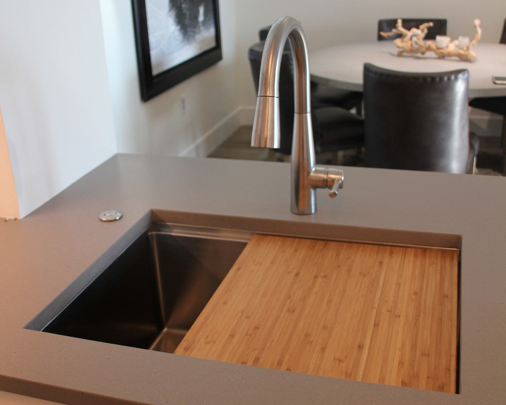 stainless steel ledge undermount sink with cutting board