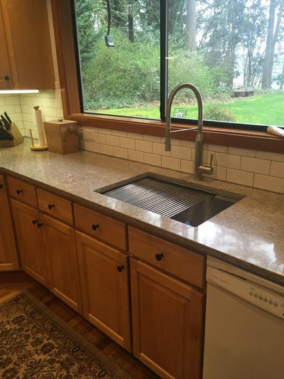 "28"" Undermount kitchen sink with ledge"