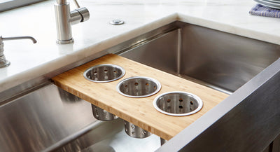 Custom bamboo board for ledge sink with utensil cups