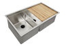 "34"" double bowl ledge sink workstation with cutting board"