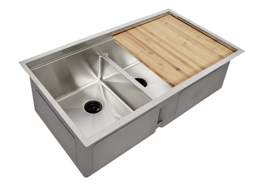 "34"" double bowl ledge sink workstation"