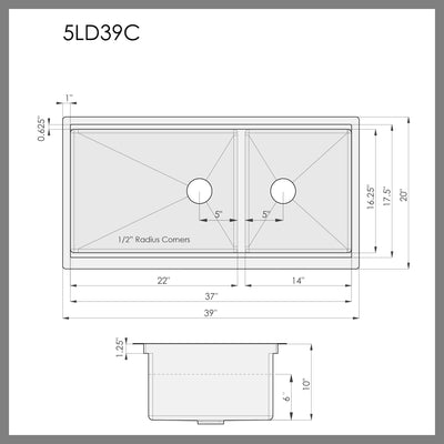 Dimensions for reversible double bowl ledge kitchen sink