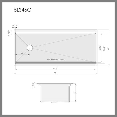 "Dimensions for 46"" single bowl ledge kitchen sink"