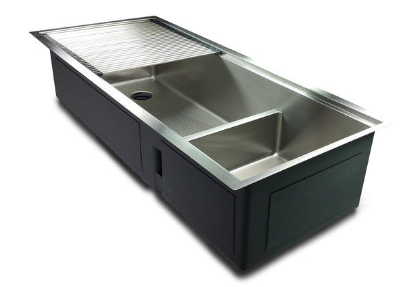 "1/2"" Radius 50"" Ledge Double Bowl Sink Offset Drain"