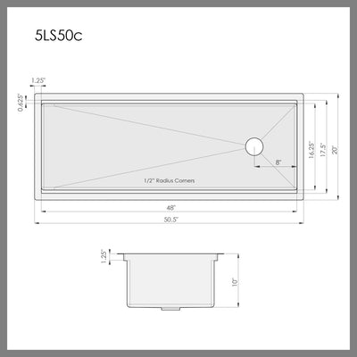 "Dimensions of 50"" single bowl kitchen workstation ledge sink"