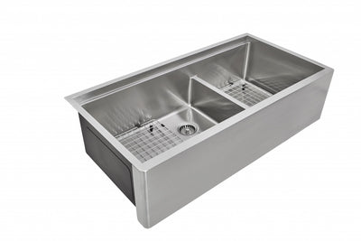 "39"" Undermount Apron Front Double Bowl Sink"