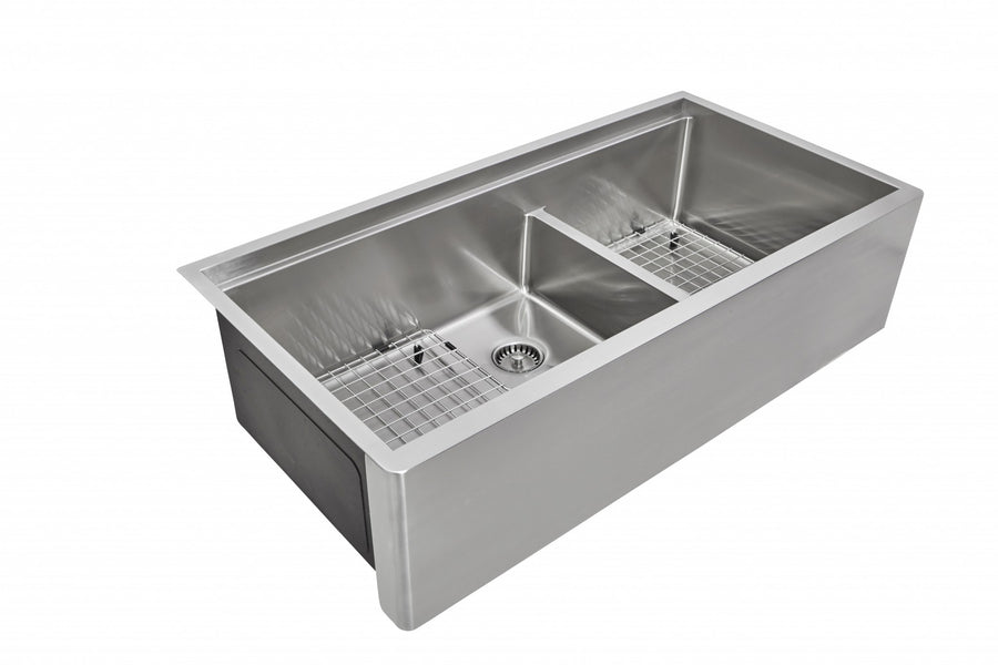 "39"" Apron Front Undermount Ledge Sink Double Bowl"