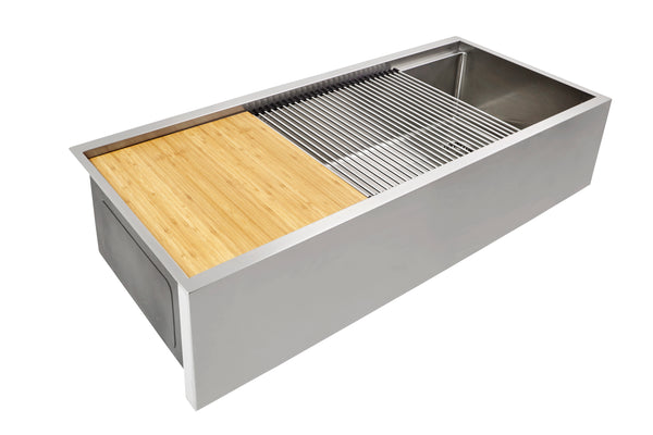 "37"" Apron Front Ledge Sink - 9"" Depth - Single Bowl - Offset Drain Right  (5LAS37R-9)"