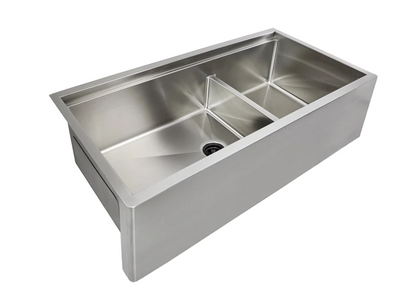 39 inch apron front stainless steel undermount farmhouse ledge workstation sink double bowl 5LAD39