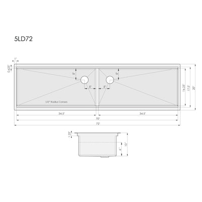 "Dimensions for 72"" double bowl ledge kitchen sink"